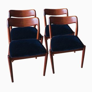 Danish Rosewood and Velvet Dining Chairs, 1960s, Set of 4