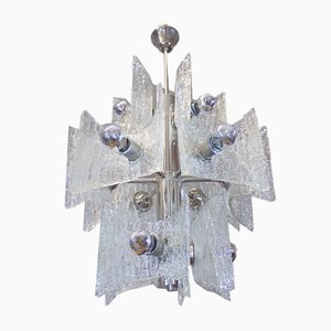 Frosted Murano Glass and Chrome Chandelier from Kaiser Idell / Kaiser Leuchten, 1960s