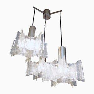 Lampe à Suspension en Verre de Murano Givré et Chrome de Kaiser Idell / Kaiser Leuchten, 1960s
