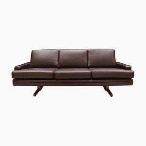 Sofá modelo 807 danés vintage de cuero marrón oscuro de Fredrik A. Kayser para Vatne Møbler, años 60