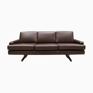 Vintage Danish Dark Brown Leather Model 807 Sofa by Fredrik A. Kayser for Vatne Møbler, 1960s