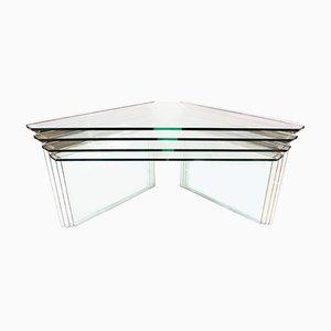 Tavolini ad incastro vintage in metallo cromato e vetro di Pierangelo Gallotti per Gallotti & Radice, anni '70