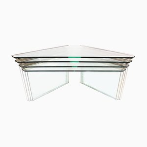 Vintage Chrome and Glass Nesting Tables by Pierangelo Gallotti for Gallotti & Radice, 1970s