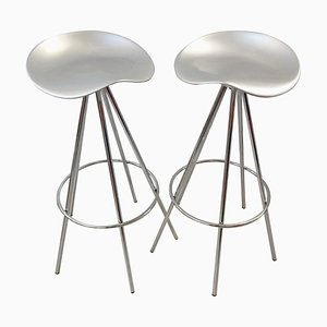 Chrome and Aluminum Model Jamaica Stools by Pepe Cortés for Amat-3, 1990s, Set of 2