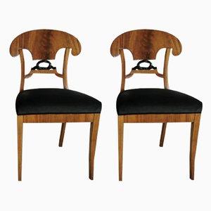 Antike Biedermeier Esszimmerstühle, 2er Set