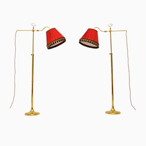 Vintage Brass Adjustable Floor Lamps, 1970s, Set of 2