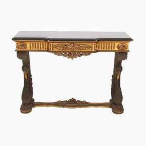 Mesa consola española de mármol y madera dorada decorada con cisnes, años 60