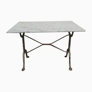 Gartentisch aus Gusseisen mit Marmorplatte, 1930er