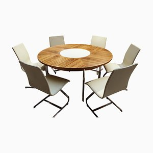 Juego de mesa de comedor y sillas vintage de palisandro de Richard Young para Merrow Associates, años 60. Juego de 7