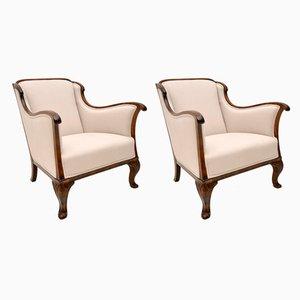 Antike schwedische Sessel aus Birke, 2er Set