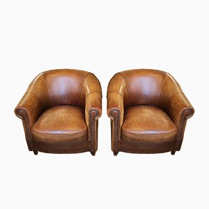 Dutch Sheep Leather Cup Armchairs from Joris, 1980s, Set of 2