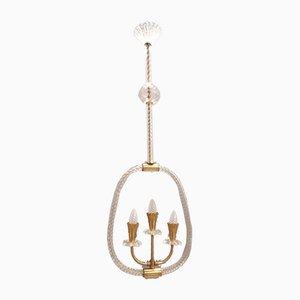 Lampe à Suspension en Verre de Murano par Ercole Barovier, 1950s