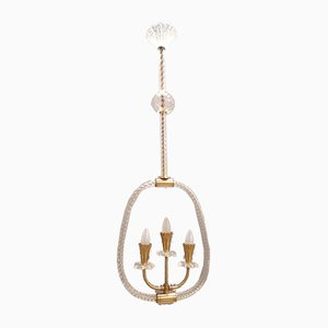 Murano Glass Pendant Lamp by Ercole Barovier, 1950s