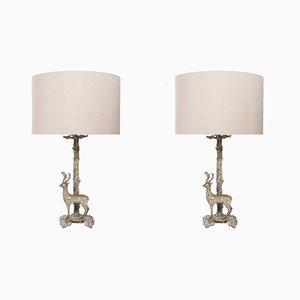 Versilberte spanische Tischlampen mit Hirschdekor von S. T. Valenti, 1960er, 2er Set