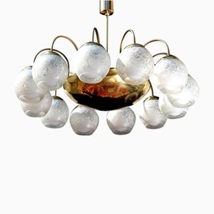 Mid-Century German Brass and Glass Ballroom Chandelier, 1950s