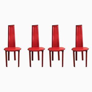 Chaises en Cuir Rouge, 1980s, Set de 4