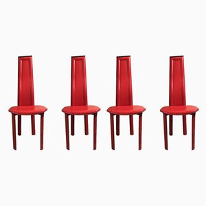 Red Leather Chairs, 1980s, Set of 4
