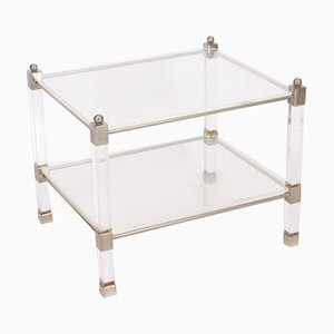 Vintage French Lucite and Nickel Side Tables, 1960s, Set of 2