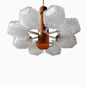 Minimalistic Ice Glass and Teak Pendant Lamp, 1960s