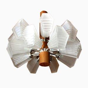 Large German Teak Pendant Lamp, 1960s