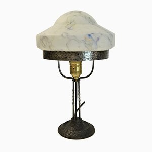 Swedish Art Nouveau Wrought Iron and Glass Table Lamp, 1920s