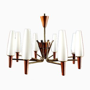 Mid-Century Minimalist Danish Teak and Opaline Glass Ceiling Lamp, 1960s