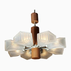 Minimalistic Teak Pendant Lamp, 1960s
