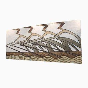 Großes abstraktes Mixed Media Gemälde von Martin Smida, 1989
