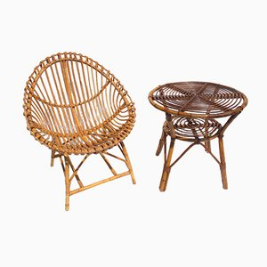 Italian Rattan Egg Chair and Table Set, 1950s