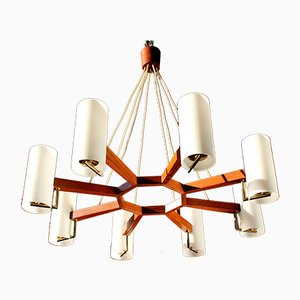 Minimalistic Danish Teak and Opaline Glass Ceiling Lamp, 1960s