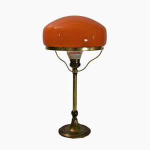 Swedish Art Deco Brass and Glass Table Lamp from Karlskrona Lampfabrik, 1930s