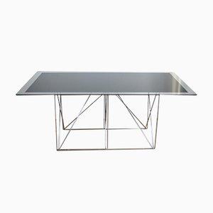 Mesa de comedor de acero y vidrio de Max Sauze para Max Sauze Studio, años 70