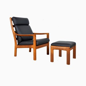Vintage Danish Armchair and Ottoman Set by Johannes Andersen for Silkeborg Møbelfabrik, 1960s