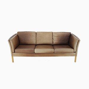 Sofá de tres plazas de cuero de Georg Thams para Vejen Polstermøbelfabrik, años 60