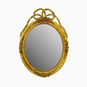 Espejo estilo Louis XVI antiguo de madera dorada tallada