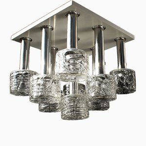 Mid-Century German Chromed and Glass Ceiling Lamp from Doria, 1970s