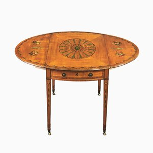 Table Pembroke George III Antique en Bois de Satin et Jacaranda, 1790s