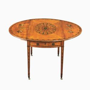 Tavolo Giorgio III antico in legno satinato e legno Pembroke, fine XVIII secolo