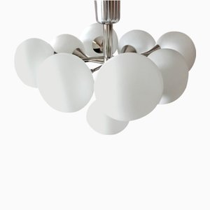 Small Mid-Century Opaline Glass and Chrome Chandelier