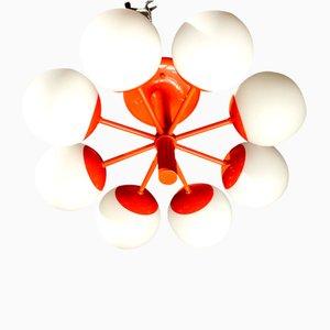 Space Age Orange Enameled Opaline Glass Sputnik Chandelier from Kaiser, 1970s