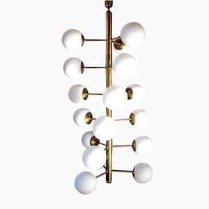 Large Mid-Century Bauhaus Style Brass and Opaline Glass Pendant Lamp, 1970s