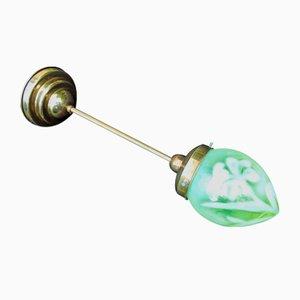 Lampada da soffitto Art Déco in vetro verde uranio e ottone, anni '20