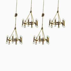 Mid-Century German Brass Church Ceiling Lamps, 1960s, Set of 4