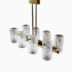 German Ice Glass and Brass Ceiling Lamp from Hillebrand, 1970s