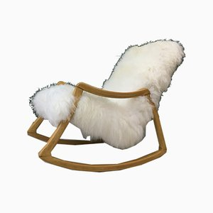 Vintage Bentwood and Sheepskin Rocking Chair from TON