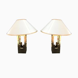 Golden Table Lamps by Willy Rizzo for Lumica, 1970s, Set of 2
