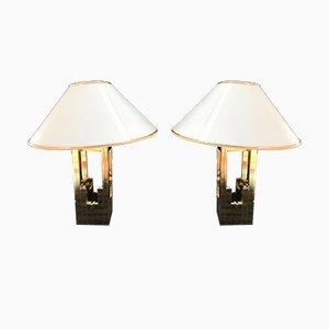 Goldene Tischlampen von Willy Rizzo für Lumica, 1970er, 2er Set