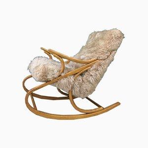 Rocking Chair Vintage en Bois Courbé et Peau de Mouton de TON, 1960s