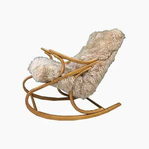 Vintage Bentwood and Sheepskin Rocking Chair from TON, 1960s
