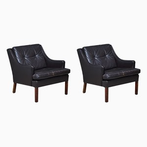 Rosewood and Dark Brown Leather Lounge Chairs, 1960s, Set of 2